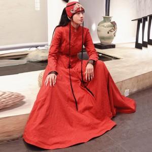 雀衣红大摆连衣裙