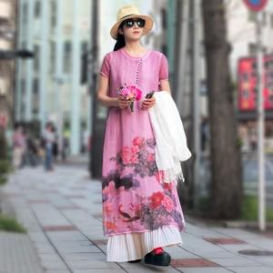 莲物语丝麻印花连衣裙