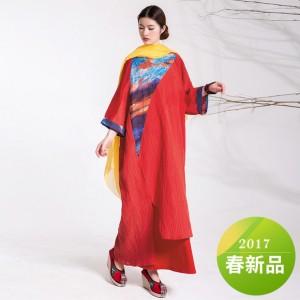 杨丽萍艺术2017春季新款曙光棉麻褶皱双层印花连衣裙