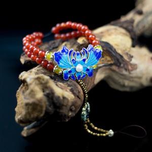 莲生素手红玛瑙手链